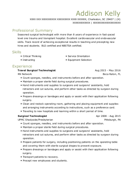 Travel Surgical Technologist resume sample South Carolina