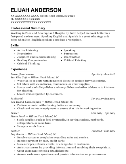 Busser resume sample South Carolina