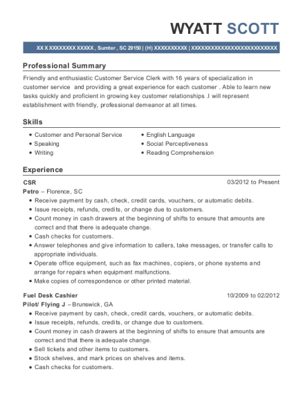 CSR resume sample South Carolina
