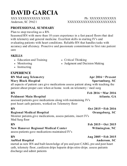 RN Med surg Telemetry resume example South Carolina