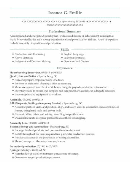 Housekeeping Supervisor resume format South Carolina