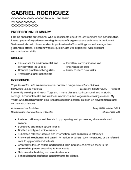Yoga Instructor resume example South Carolina