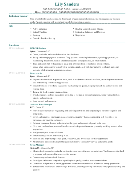 ISM CSR Trainer resume format South Carolina