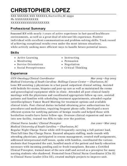 GYN Oncology Clinical Coordinator resume format South Carolina