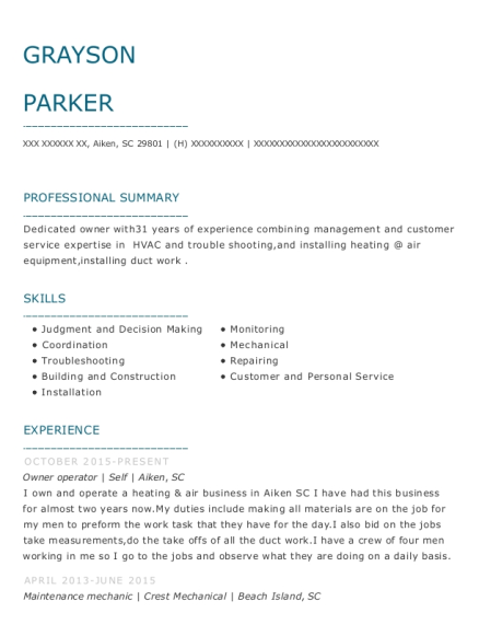 Owner operator resume format South Carolina