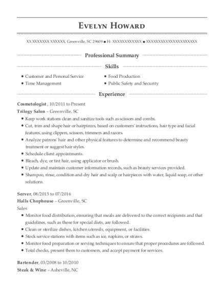 Cosmetologist resume template South Carolina