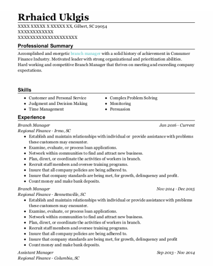Branch Manager resume example South Carolina