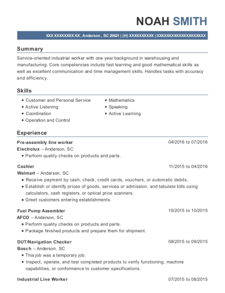 Pre assembly line worker resume sample South Carolina