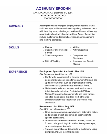 Employment Specialist resume format South Carolina