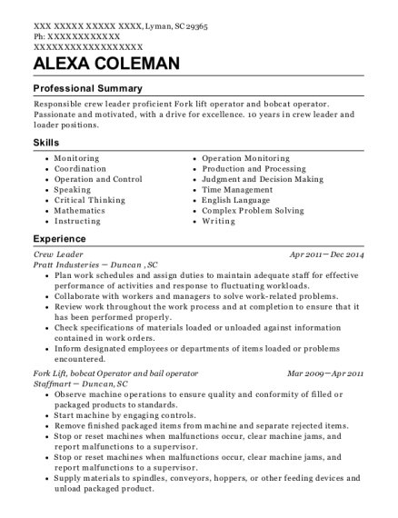 Crew Leader resume format South Carolina