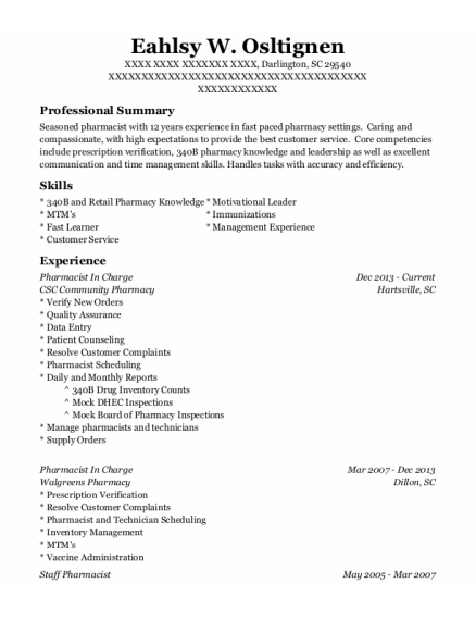 Pharmacist In Charge resume format South Carolina