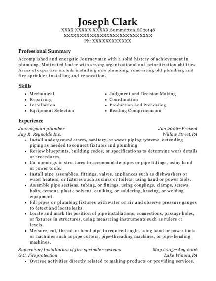 Journeyman Plumber resume template South Carolina