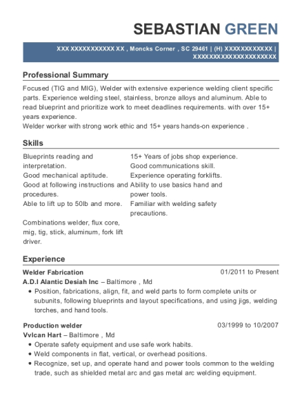 Welder Fabrication resume template South Carolina