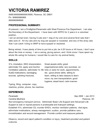 Paramedic resume sample South Carolina