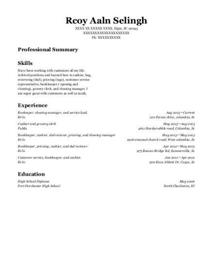 Bookeeper resume template South Carolina