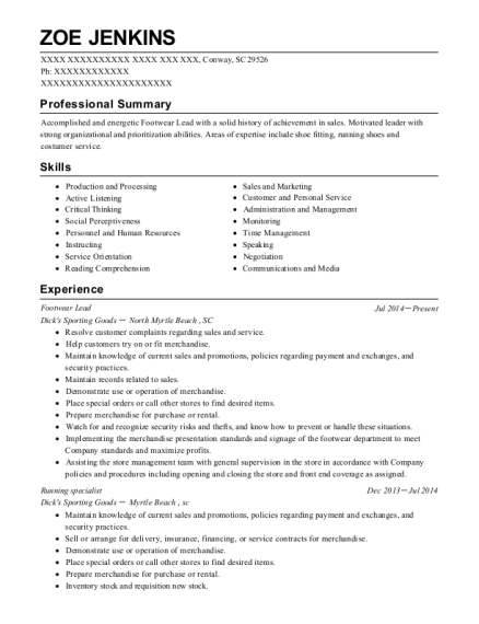Footwear Lead resume sample South Carolina