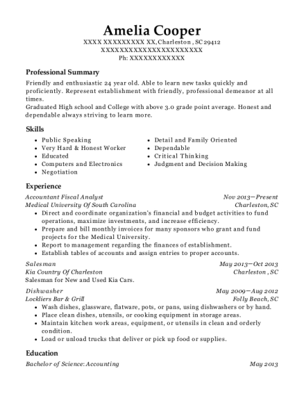 Accountant Fiscal Analyst resume template South Carolina