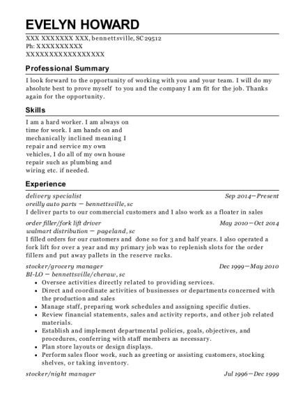 delivery specialist resume example South Carolina