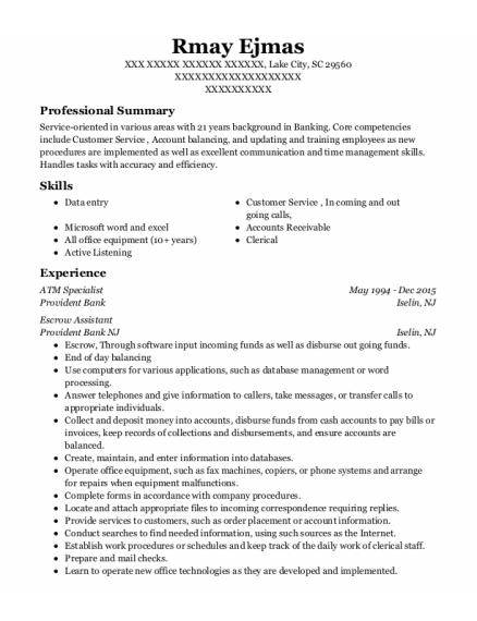 Escrow Assistant resume example South Carolina