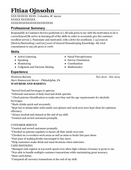 Waitress resume example South Carolina