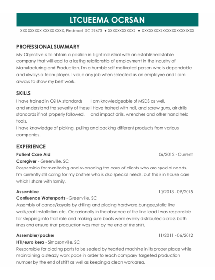 Patient Care Aide resume format South Carolina