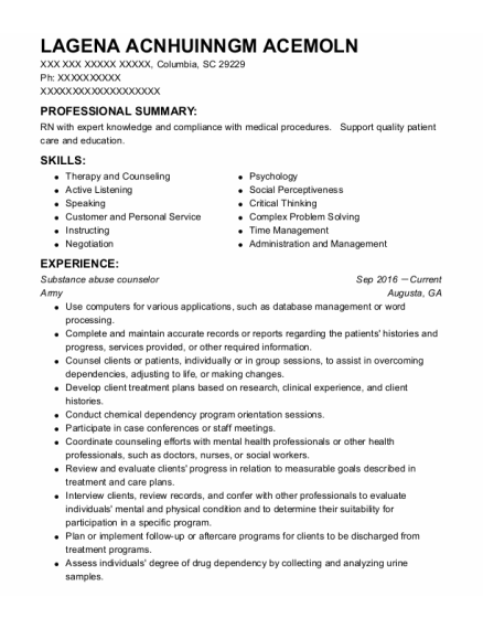 Substance Abuse Counselor resume example South Carolina