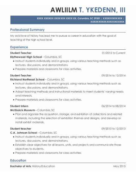 Student Teacher resume sample South Carolina