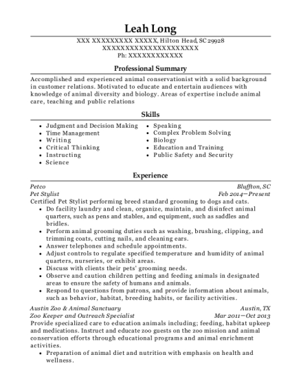 Pet Stylist resume template South Carolina