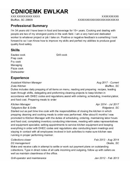 Assistant Kitchen Manager resume template South Carolina