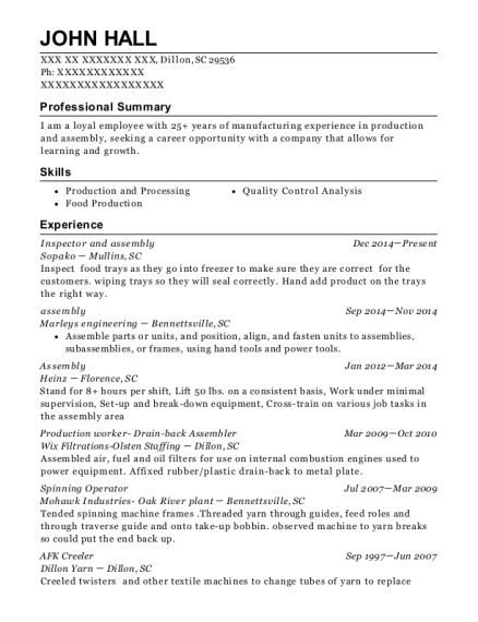 Inspector and assembly resume example South Carolina