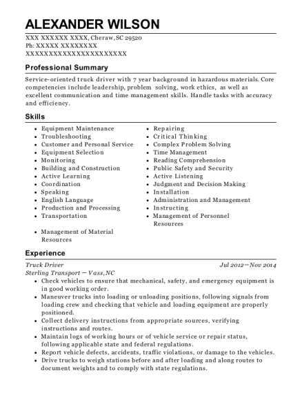 Truck Driver resume template South Carolina