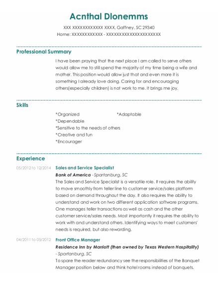 Sales And Service Specialist resume example South Carolina