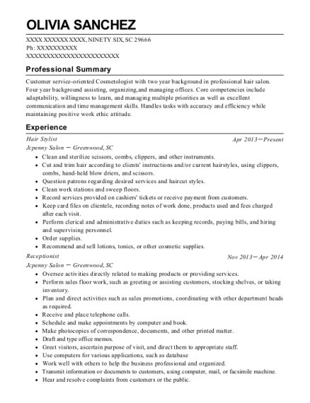 Hair Stylist resume example South Carolina