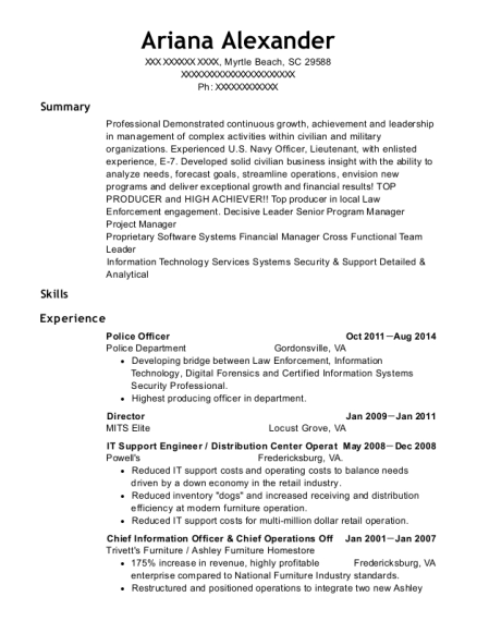 Police Officer resume example South Carolina