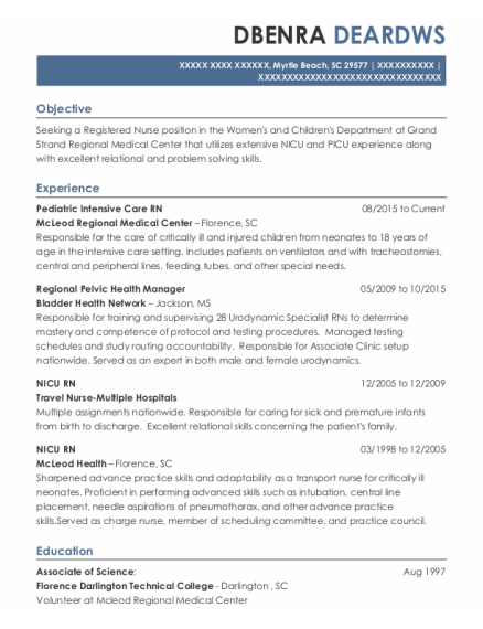 Nicu Rn resume sample South Carolina