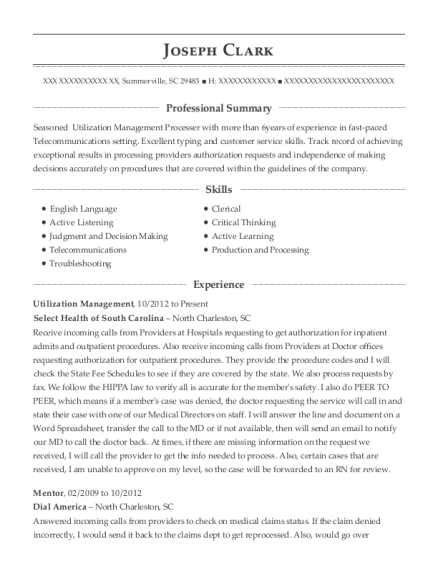 Utilization Management resume sample South Carolina