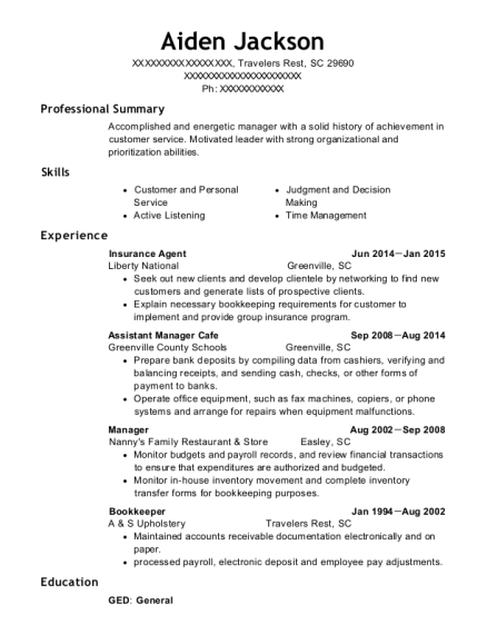 Insurance Agent resume template South Carolina