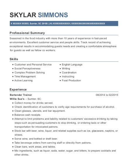 Bartender Trainer resume example South Carolina