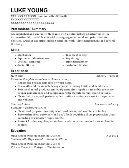 Mechanic resume sample South Carolina