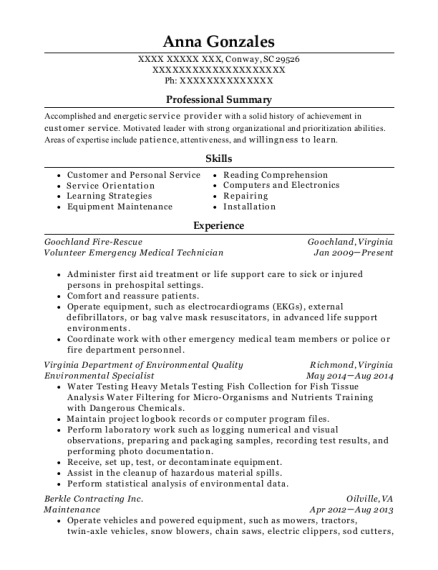 Volunteer Emergency Medical Technician resume template South Carolina