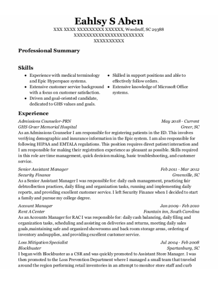 Senior Assistant Manager resume template South Carolina