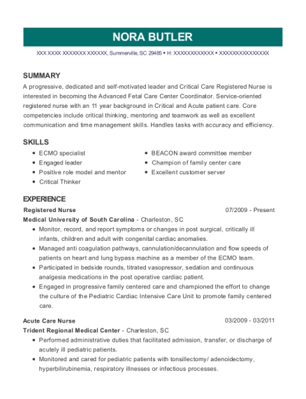 Registered Nurse resume sample South Carolina