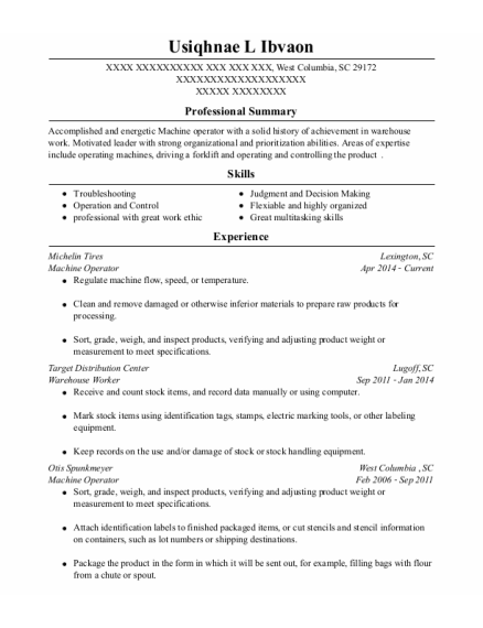 Machine Operator resume sample South Carolina