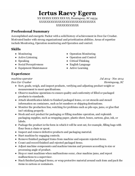 machine operator resume template South Carolina