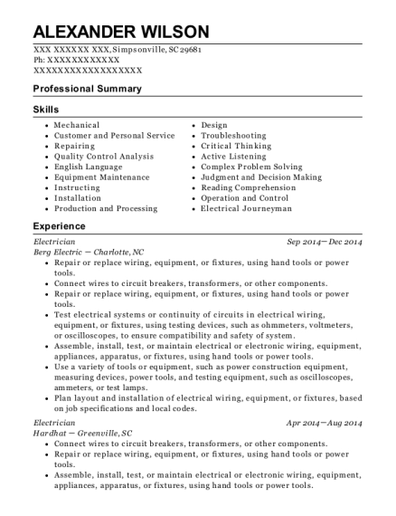 Electrician resume example South Carolina
