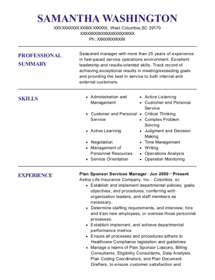 Plan Sponsor Services Manager resume format South Carolina