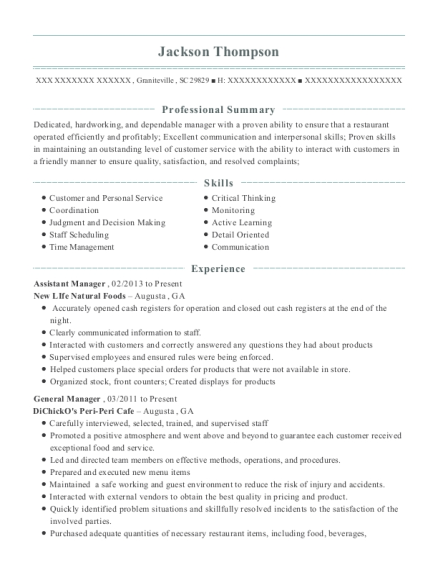 Assistant Manager resume format South Carolina