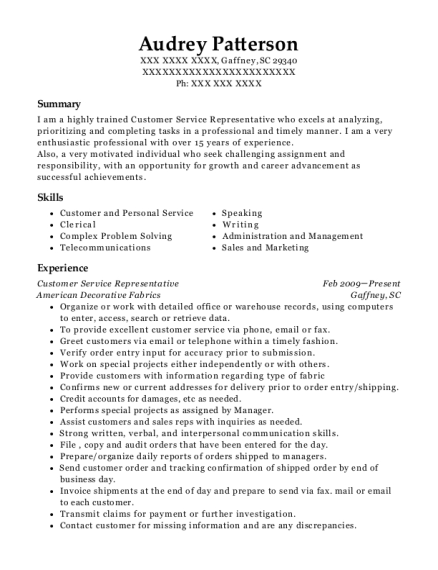 Customer Service Representative resume format South Carolina