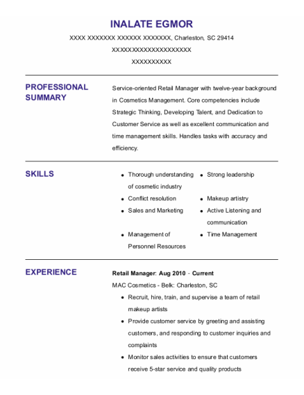 Retail Manager resume template South Carolina