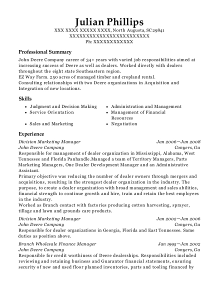 Division Marketing Manager resume example South Carolina